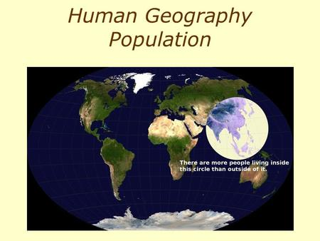 Human Geography Population. Chapter 4 Population: World Patterns, Regional Trends Source100 people Library of Congress100 people Insert figure CO4 Economist: