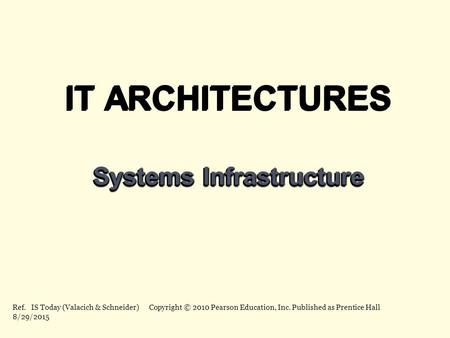 IT ARCHITECTURES Systems Infrastructure IT ARCHITECTURES Systems Infrastructure Ref. IS Today (Valacich & Schneider) Copyright © 2010 Pearson Education,