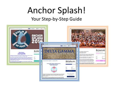 Anchor Splash! Your Step-by-Step Guide. Step 1 Fill out the Anchor Splash Survey DG will verify and approve your information MemberPlanet will build your.