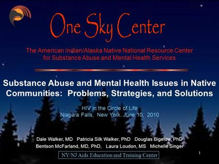 1 The American Indian/Alaska Native National Resource Center for Substance Abuse and Mental Health Services Substance Abuse and Mental Health Issues in.