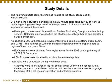 1 Study Details The following charts comprise findings related to the study conducted by Hardwick~Day. 916 high school students participated in a 20-minute.