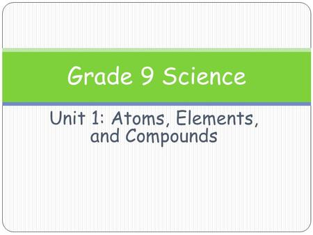 Unit 1: Atoms, Elements, and Compounds