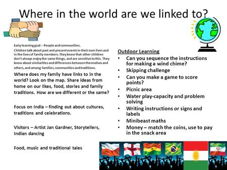 Where in the world are we linked to? Early learning goal – People and communities. Children talk about past and present events in their own lives and in.