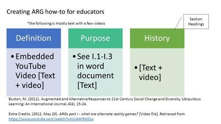 Creating ARG how-to for educators Definition Embedded YouTube Video [Text + video] Purpose See I.1-I.3 in word document [Text] History [Text + video] *the.