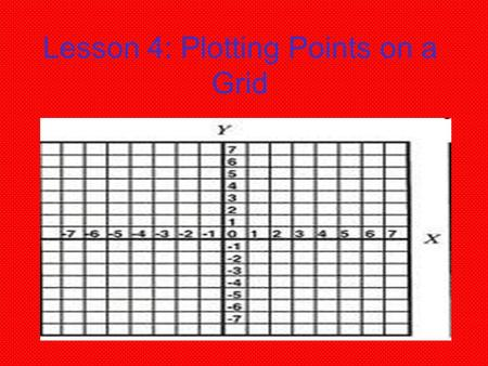 Lesson 4: Plotting Points on a Grid. What Are Ordered Pairs??? Two numbers – X and Y Components Show POSITION on a grid (4,3) (2,7) etc. First # shows.