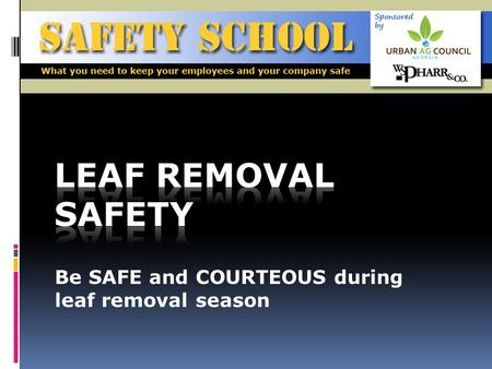 Be SAFE and COURTEOUS during leaf removal season.