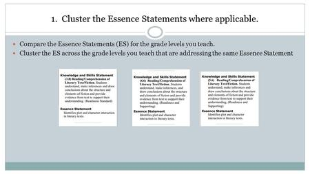 1. Cluster the Essence Statements where applicable. Compare the Essence Statements (ES) for the grade levels you teach. Cluster the ES across the grade.