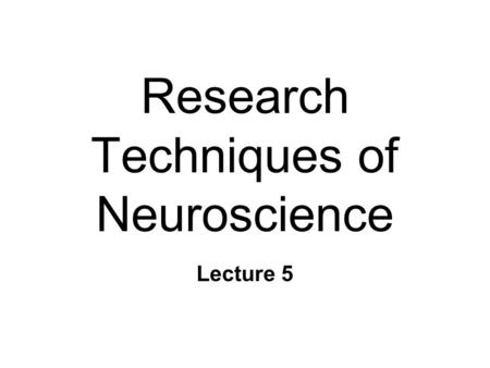 Research Techniques of Neuroscience Lecture 5. Studying the Brain & Behavior n Anatomy & behavior l Damage  behavior changes l Structural differences.
