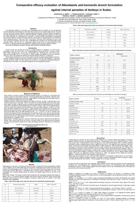 Comparative efficacy evaluation of Albendazole and Ivermectin drench formulation against internal parasites of donkeys in Sudan. SAWSAN M. A. IMAM (1,