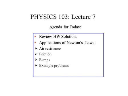 PHYSICS 103: Lecture 7 Review HW Solutions Applications of Newton's Laws  Air resistance  Friction  Ramps  Example problems Agenda for Today: