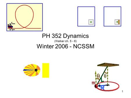 1 PH 352 Dynamics (Walker ch. 5 - 6) Winter 2006 - NCSSM.