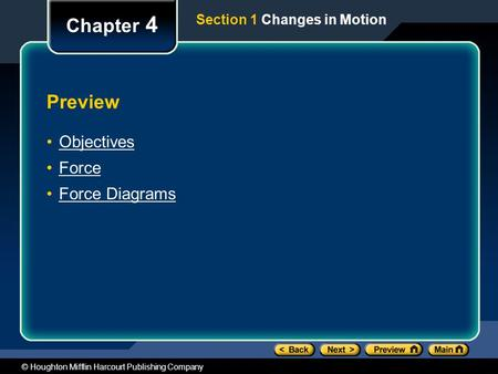 © Houghton Mifflin Harcourt Publishing Company Preview Objectives Force Force Diagrams Chapter 4 Section 1 Changes in Motion.