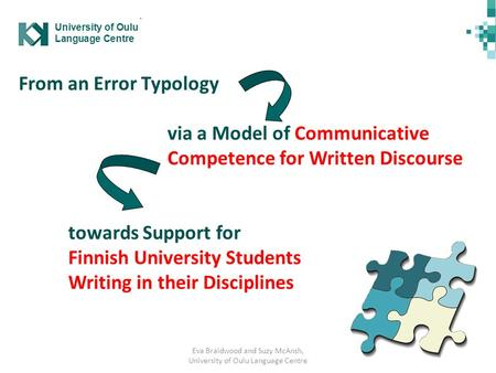 Eva Braidwood and Suzy McAnsh, University of Oulu Language Centre From an Error Typology via a Model of Communicative Competence for Written Discourse.