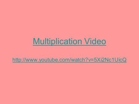 Multiplication Video