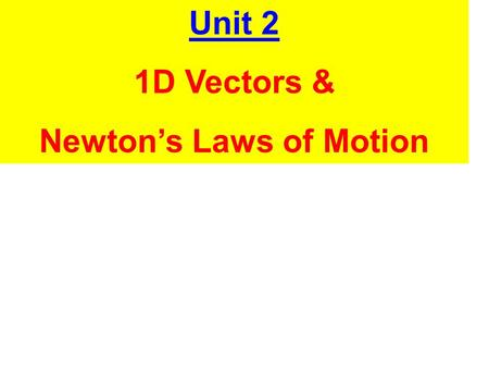 Unit 2 1D Vectors & Newton's Laws of Motion. A. Vectors and Scalars.