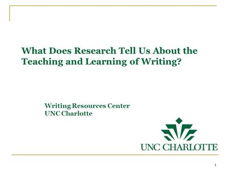 What Does Research Tell Us About the Teaching and Learning of Writing? Writing Resources Center UNC Charlotte 1.