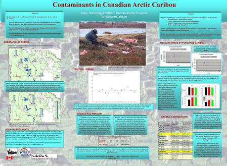 Organic contaminants in Arctic Caribou Contaminants in Canadian Arctic Caribou Mary Gamberg, Northern Contaminants Program Whitehorse, Yukon Caribou hunter,