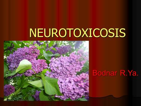 NEUROTOXICOSIS Bodnar R.Ya. Bodnar R.Ya.. PLAN NEUROTOXICOSIS Mercury poisoning Industrial uses. Industrial uses. Pathogenesis of Pathogenesis of Mercury.