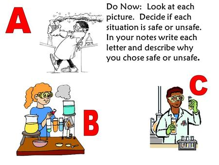 Do Now: Look at each picture. Decide if each situation is safe or unsafe. In your notes write each letter and describe why you chose safe or unsafe.