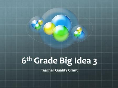 6th Grade Big Idea 3 Teacher Quality Grant.
