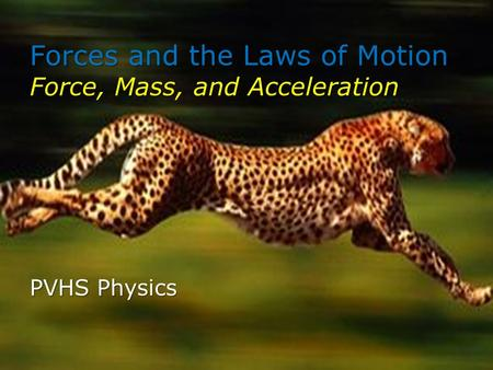 Forces and the Laws of Motion Force, Mass, and Acceleration PVHS Physics.