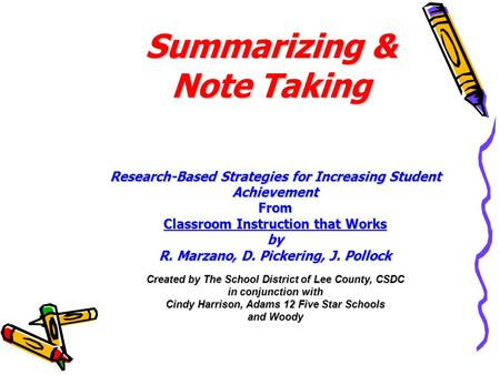 Summarizing & Note Taking