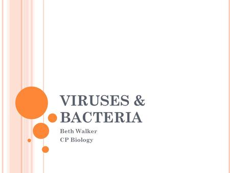 VIRUSES & BACTERIA Beth Walker CP Biology. VIRUSES A. What are the basic characteristics of viruses? smaller than bacteria non-living only reproduce in.