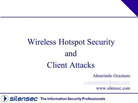 Wireless Hotspot Security