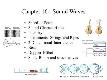 Chapter 16 - Sound Waves Speed of Sound Sound Characteristics Intensity Instruments: Strings and Pipes 2 Dimensional Interference Beats Doppler Effect.