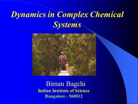 Dynamics in Complex Chemical Systems Biman Bagchi Indian Institute of Science Bangalore - 560012.