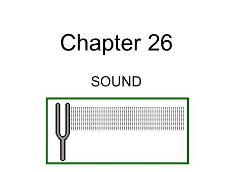 Chapter 26 SOUND All Sounds are produced by the vibrations of material objects.