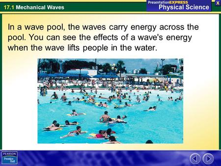 In a wave pool, the waves carry energy across the pool