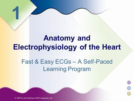 Q I A 1 Fast & Easy ECGs – A Self-Paced Learning Program Anatomy and Electrophysiology of the Heart.