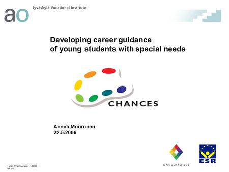 Developing career guidance of young students with special needs