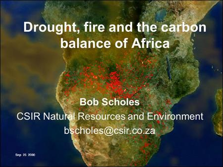 Drought, fire and the carbon balance of Africa Bob Scholes CSIR Natural Resources and Environment