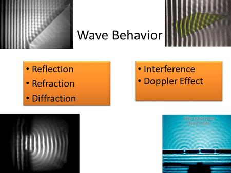 Wave Behavior Reflection Refraction Diffraction Reflection Refraction Diffraction Interference Doppler Effect Interference Doppler Effect.