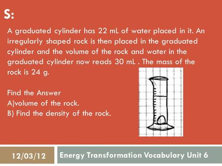 Energy Transformation Vocabulary Unit 6