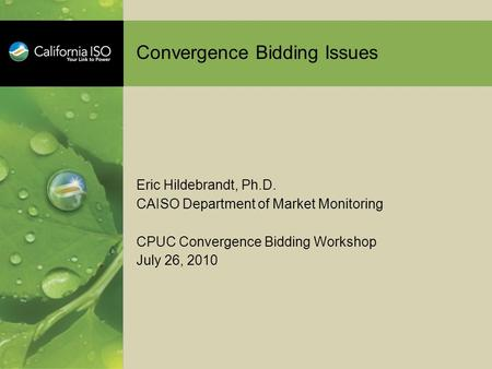 Convergence Bidding Issues Eric Hildebrandt, Ph.D. CAISO Department of Market Monitoring CPUC Convergence Bidding Workshop July 26, 2010.