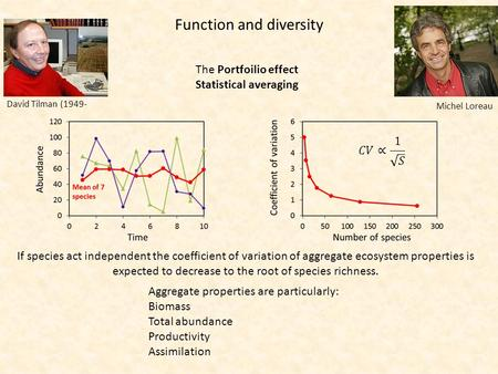 Function and diversity David Tilman (1949- The Portfoilio effect Statistical averaging If species act independent the coefficient of variation of aggregate.