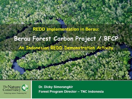 A Hope we can believe in Dr. Dicky Simorangkir Forest Program Director – TNC Indonesia REDD Implementation in Berau: Berau Forest Carbon Project / BFCP.
