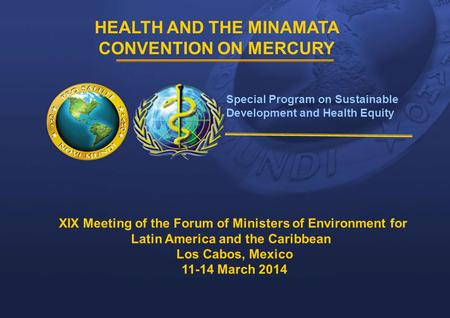 1 |1 | HEALTH AND THE MINAMATA CONVENTION ON MERCURY Special Program on Sustainable Development and Health Equity XIX Meeting of the Forum of Ministers.