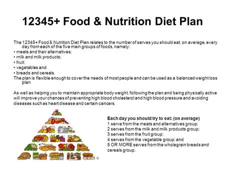12345+ Food & Nutrition Diet Plan The 12345+ Food & Nutrition Diet Plan relates to the number of serves you should eat, on average, every day from each.