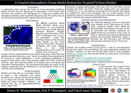 Henry R. Winterbottom, Eric P. Chassignet, and Carol Anne Clayson A Coupled Atmosphere-Ocean Model System for Tropical Cyclone Studies Motivation Methodology.