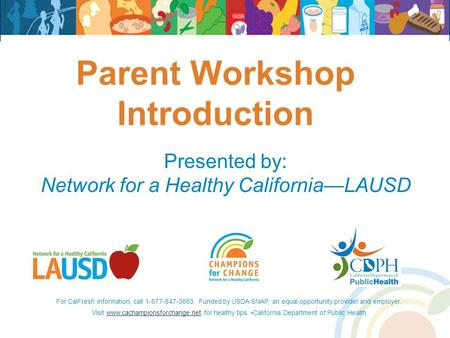 Parent Workshop Introduction