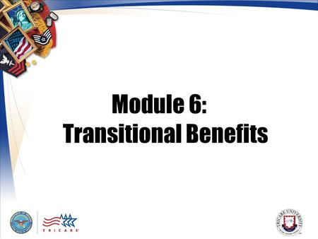 Module 6: Transitional Benefits. 2 Module Objectives After this module, you should be able to: List who may be eligible for transitional health care coverage.