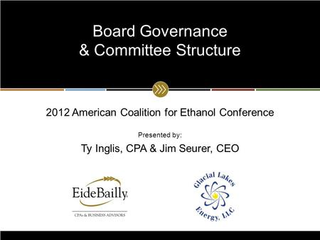 2012 American Coalition for Ethanol Conference Presented by: Ty Inglis, CPA & Jim Seurer, CEO Board Governance & Committee Structure.