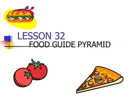 LESSON 32 FOOD GUIDE PYRAMID. Food group – category of foods that contain similar nutrients Food Guide Pyramid – tells how many servings from each food.