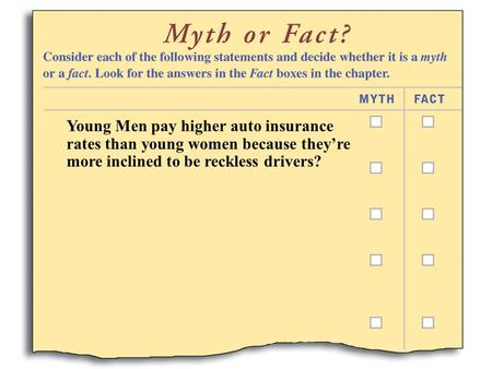 Young Men pay higher auto insurance rates than young women because they're more inclined to be reckless drivers?