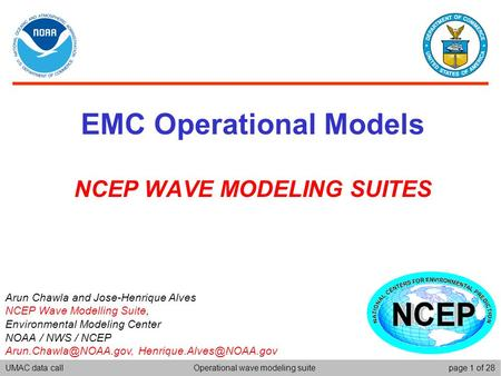 UMAC data callpage 1 of 28Operational wave modeling suite EMC Operational Models NCEP WAVE MODELING SUITES Arun Chawla and Jose-Henrique Alves NCEP Wave.