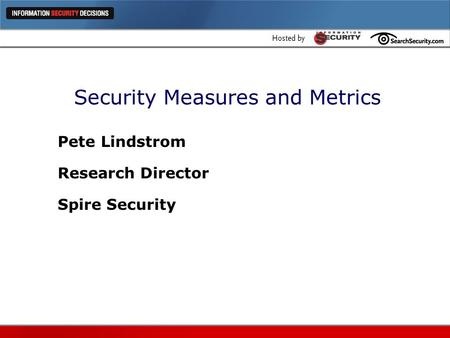 Security Measures and Metrics